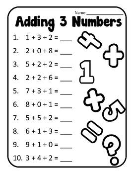 Adding to Make 10 Adding Three Numbers First Grade Adding