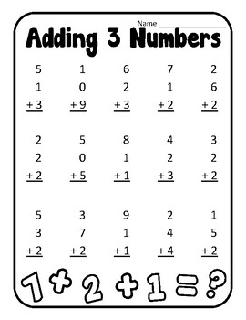 Adding to Make 10 Adding Three Numbers First Grade Adding