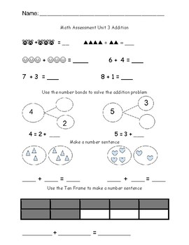 Addition Assessment Kindergarten/ Evaluacion de sumas para
