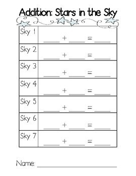Addition Cards and Recording Sheet: Stars in the Sky by