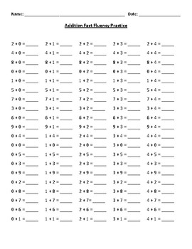 First Grade Addition Facts Fluency Practice Worksheet for