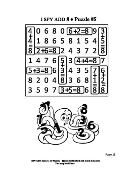 I SPY ADD to 10 Addition Puzzles Math Skill Practice
