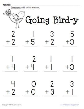 Addition Practice Sums 0-5 Common Core K.OA.5 & 1.OA.6 by