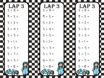 Addition & Subtraction Math Facts Racing Themed Unit by