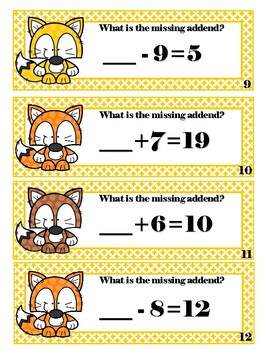 Missing Addend Subtraction : missing, addend, subtraction, Addition, Subtraction, Missing, Addend, Foxes, Precious, Items
