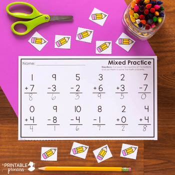 Addition & Subtraction Practice Pages {With Cut Apart