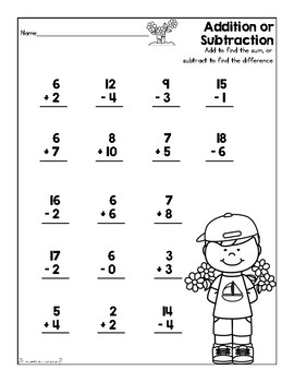 Addition & Subtraction Worksheet (SpringTheme) by First