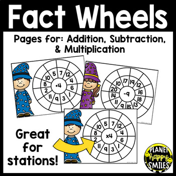 Addition, Subtraction, and Multiplication Fact Wheels by