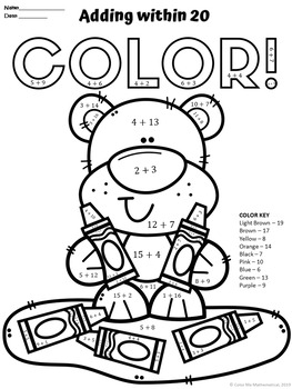 Addition & Subtraction within 20 Color by Number