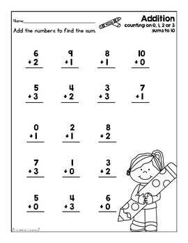 Addition Worksheet (Back to School) by First Grade