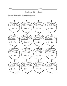 Addition Worksheet : Fall Theme FREE by Learning is Lots
