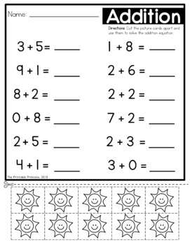 Addition Worksheets with Counters Included by The