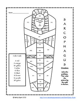 Addition and Subtraction Color by Number Ancient Egypt by