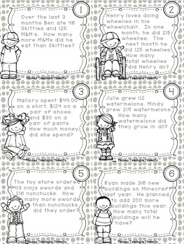 Addition and Subtraction Word Problem Task Cards by Thomas