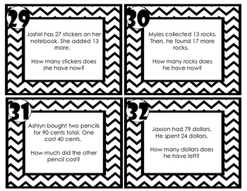 Addition and Subtraction Word Problem Task Cards (No