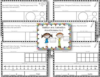 Addition and Subtraction Word Problems to 5 by Having Fun