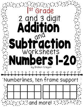 Addition and Subtraction Worksheets Numbers 1-20 by Broken
