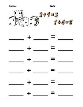 Addition and Subtraction with Dice (Spanish and English