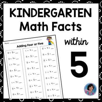 Kindergarten Math Fact Fluency Pack: Addition and