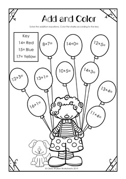 Addition to 20 Worksheets (Adding to Twenty Printables