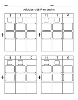Addition with Regrouping Graphic Organizer by Jessica J