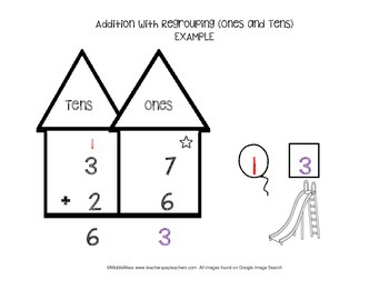 Addition with Regrouping-Tens and Ones Math Mat by