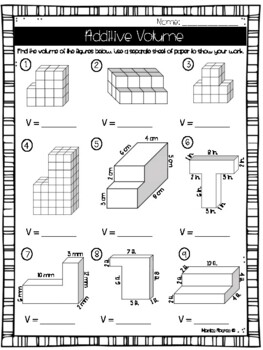 Additive Volume Worksheet/Test (5th Grade) by Monica