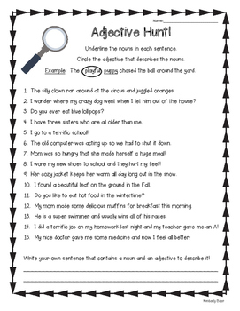 Adjective Hunt Practice Worksheet By 4 Little Baers