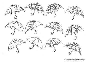 Umbrellas Adult Coloring Page (for kids too!) by Liz's