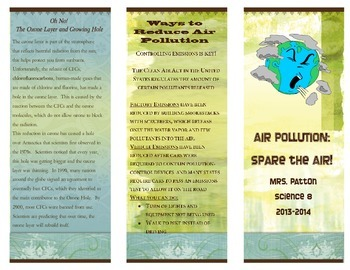 Air Pollution Brochure Project Rubric And Examples TpT