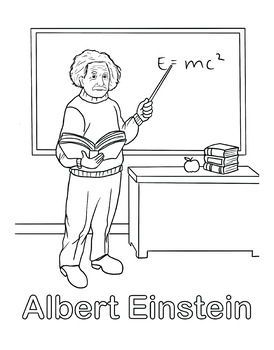 Albert Einstein Coloring and Activity Book Pages by