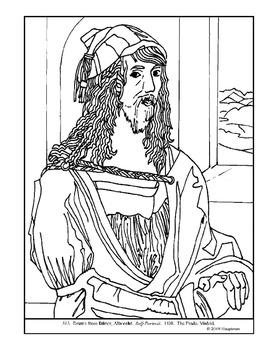 Albrecht Durer. Self-Portrait. Coloring page and lesson