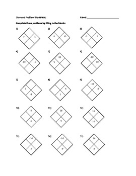 Algebra 1: Diamond Problems Worksheet with Answers by