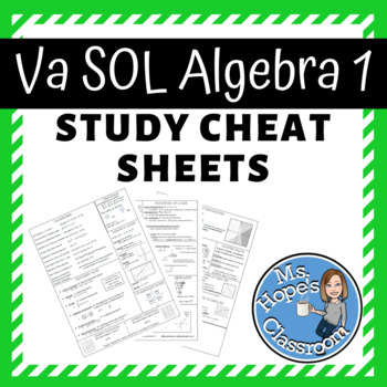 Algebra 1 Review Cheat Sheet for SOL! by Ms Hope's