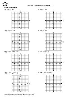 Algebra 2 Mastery Worksheet: 2-Graphing Lines by