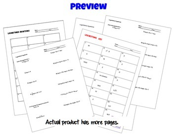 Logarithmic Equations Task Cards plus HW and QR by Joan