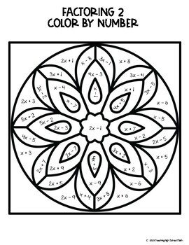 Algebra Factoring Mandala Color By Number by Teaching High