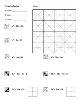 Algebra Factoring Review Coloring Worksheet by Middle