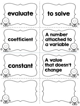 Algebra Vocabulary Match Up Cards by Coffee Cups and