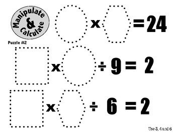 Algebra Puzzles for 3rd, 4th and 5th Graders: Manipulate