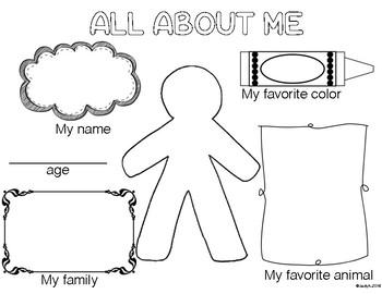 All ABout Me Fact Page- Preschool, Kindergarten, 1st grade