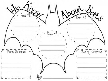 All About Bats Informational Writing Graphic Organizer by