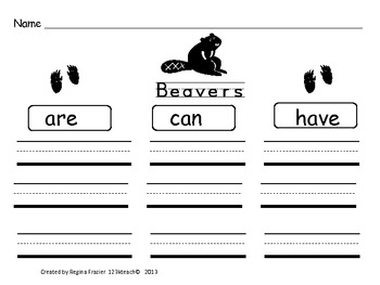All About Beavers, Writing Prompts, Graphic Organizers
