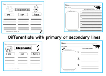 All About Elephants, Writing Prompts, Graphic Organizers