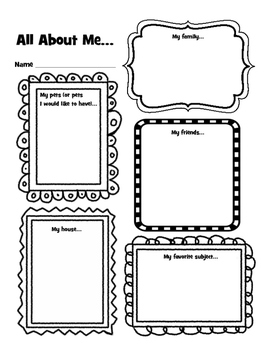 All About Me Early Elementary Get to Know You Activity by