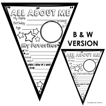 All About Me Pennant Banner (Back to School Activity) by