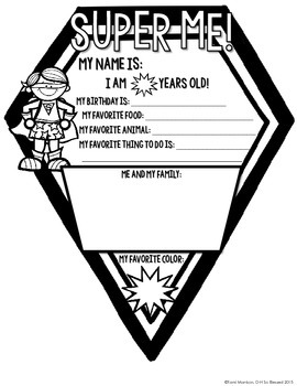 {All About Me} Superhero Kid Pennant Activity for Back to