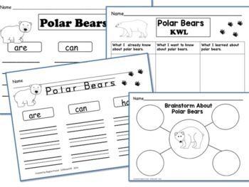 All About Polar Bears, Writing Prompts, Graphic Organizers