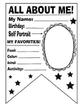 All About me Banner First day of school art activity Kids