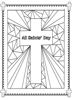 All Saints' Day Stained Glass Cross Coloring Pages! by